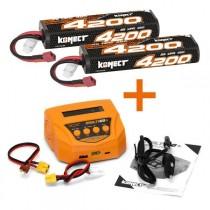 KONECT KN-CHARGPACK10 KIT CHARGEUR + 2 BATTERIES LIPO 7.4V 4200MAH 40C